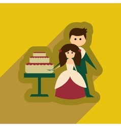 Flat web icon with long shadow bride groom cake vector