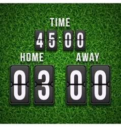 Football soccer scoreboard on grass background vector image vector image