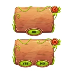 Funny cartoon game panels in jungle style vector