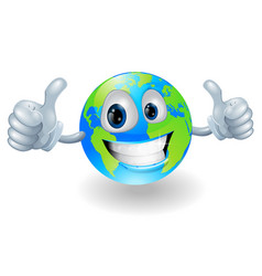 globe earth mascot with thumbs up vector image vector image
