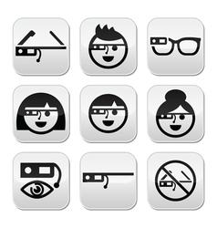 Google glass buttons set vector