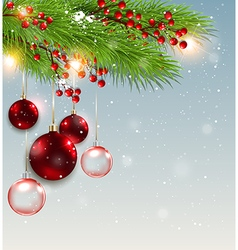 Green fir branch and red decorations vector