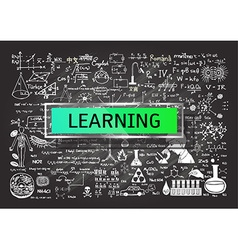 Hand drawn learning on chalkboard vector