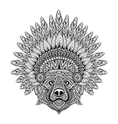 Hand drawn patterned bear in zentangle style in vector