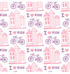 Hand drawn seamless pattern with cute houses and vector