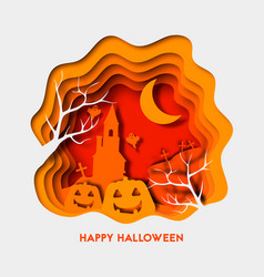 happy halloween 3d abstract paper cut vector image