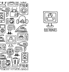 Home electronics sketch vertical banner vector