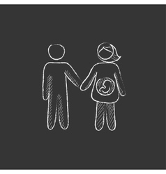 Husband with pregnant wife drawn in chalk icon vector