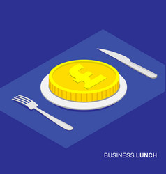 Isometric 3d coin with pound sign on plate vector