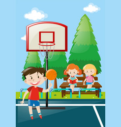 many kids at basketball court vector image