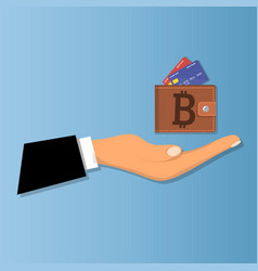 Mobile wallet with bitcoin cryptocurrency vector