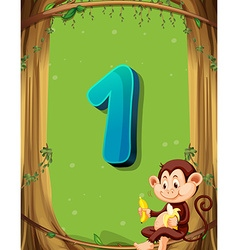 Number one with only one monkey in the tree vector