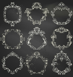 Set of circle chalk frames vector