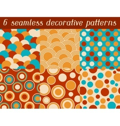 Set of colored retro circle seamless pattern vector image vector image