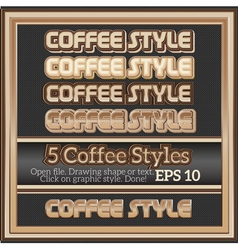 Set of decorative coffee graphic styles for design vector