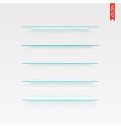 Set of glass shelves isolated on the wall vector