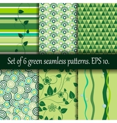 Set of six green seamless patterns vector image vector image