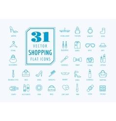 Shopping icons set fashion symbols vector
