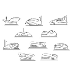 Sporting stadiums and arenas outline icons vector