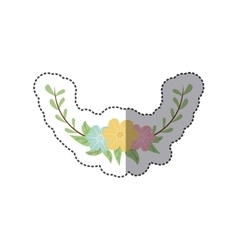 sticker colorful decorative half crown branch vector image vector image