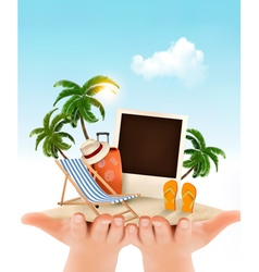 Summer vacation background hands holding up vector