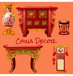 Vintage furniture in the chinese style vector