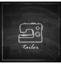Vintage with sewing machine sign on blackboard vector