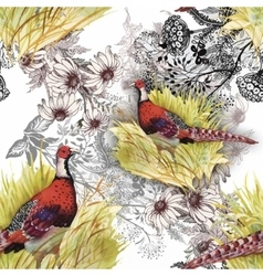 Wild Pheasant animals birds in watercolor floral vector image