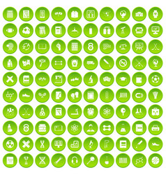 100 college icons set green circle vector