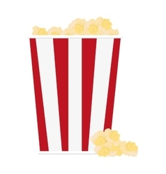 Popcorn in striped package icon vector
