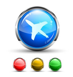 Airplane cristal glossy button vector