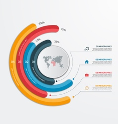 Circle infographic template with 4 processes vector