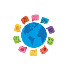 small world map globe with dialogue social icons vector image