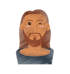 Drawing jesus christ wink face vector