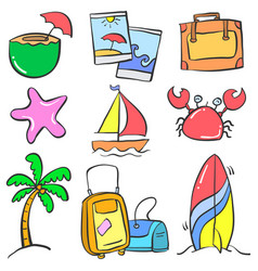 Collection object summer holiday colorful doodles vector