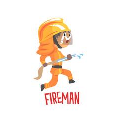 Cute cartoon fireman character using water hose vector