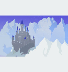 Landscape with castle and mountaines with snow vector