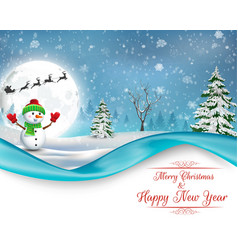 Happy snowman christmas background vector