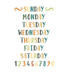 Handwritten grunge colorful days of the week vector