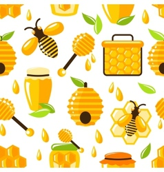 Honey seamless pattern vector