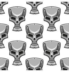 Stylized modern silver skull seamless pattern vector image