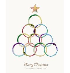 Merry Christmas circle tree watercolor greeting vector image