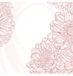 Line drawings pink chrysanthemum on white grunge vector