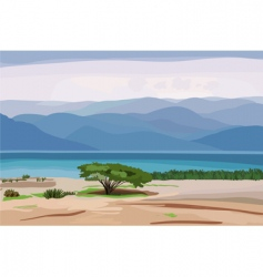 marine landscape against the backdro vector image