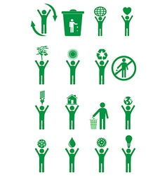 Go green people icons set vector