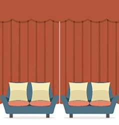 Empty sofas in front of curtain vector