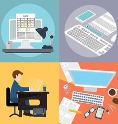 Collection of flat and office work freelancer vector