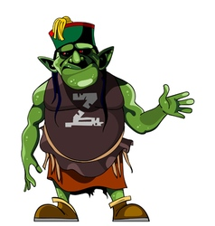 Cartoon green humanlike monster in clothing vector