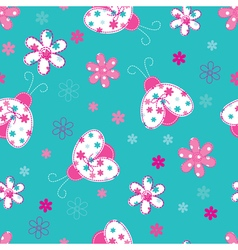 Cute seamless pattern with ladybugs and flowers vector