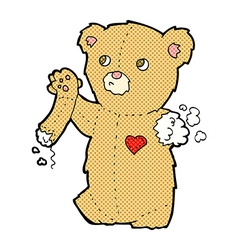 Comic cartoon teddy bear with torn arm vector